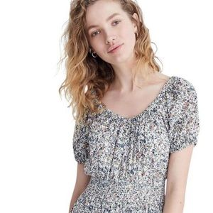 Madewell Smocked Floral Peasant Dress